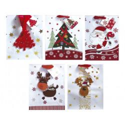 Bolsa para regalo arguval pequeña navidad white adornos 3d purpurina 19x25x