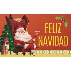 Etiqueta arguval papa noel feliz navidad rollo de 250 unidades