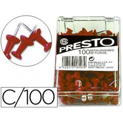 Señalizador de planos presto rojo caja de 100 unidades