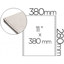 Papel continuo 380x11 blanco caja de 2500 hojas