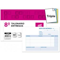 Talonario liderpapel entregas 8º original y 2 copias t328 apaisado