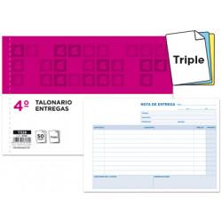 Talonario liderpapel entregas cuarto original y 2 copias t329 apaisado