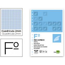 Recambio liderpapel folio 100 hojas 60g/m2 milimetrado sin margen 16 taladr