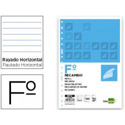 Recambio liderpapel folio 100 hojas 60g/m2 horizontal sin margen 16 taladro