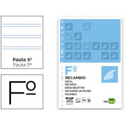 Recambio liderpapel folio 100 hojas 60g/m2 pauta 5ª 25mm con margen 16 tal