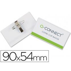 Identificador con pinza e imperdible qconnect kf01567 54x90 mm