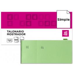 Talonario liderpapel mostrador 50x110 mm tl12 verde con matriz