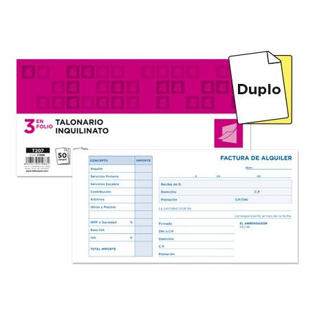 Talonario liderpapel inquilinato 3/fº original y copia t207 con codiciones