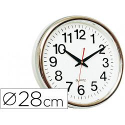 Reloj qconnect de pared plastico oficina redondo 28 cm marco cromado
