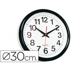 Reloj qconnect de pared plastico oficina redondo 28 cm marco negro