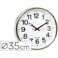 Reloj qconnect de pared plastico oficina redondo 35 cm marco cromado