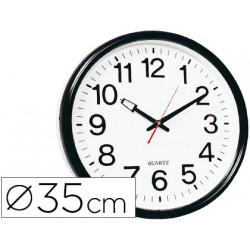 Reloj qconnect de pared plastico bsoficina redondo 35 cm marco negro