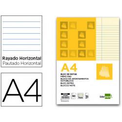 Bloc notas liderpapel horizontal a4 50 hojas amarillas 60g/m2 encolado