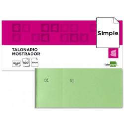 Talonario liderpapel mostrador 60x145 mm tl06 verde con matriz