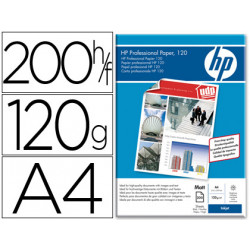Papel hp profesional para inkj et 120 mate a4 200hojas 120 gr