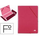 Carpeta liderpapel gomas folio 3 solapas carton prespan roja