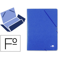 Carpeta liderpapel gomas folio 3 solapas carton prespan azul