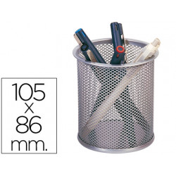 Cubilete portalapices qconnect rejilla metal plata medida diametro 86 alt