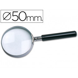 Lupa cristal aro metalico mango negro w102 50 mm