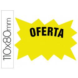 Cartel cartulina etiqueta marcaprecios amarillo fluorescente 110x80 mm bol