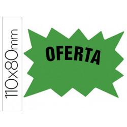 Cartel cartulina etiquetas marcaprecios verde fluorescente 110x80 mm bolsa