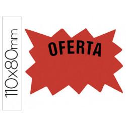 Cartel etiqueta marcaprecios cartulina rojo fluorescente bolsa de 50 etique