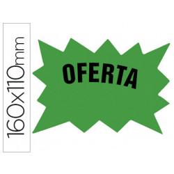 Cartel cartulina etiquetas marcaprecios verde fluorescente 160x110 mm bols