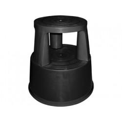 Taburete qconnect ruedas retractiles tres ruedas dos niveles negro