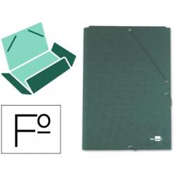 Carpeta liderpapel gomas folio 3 solapas carton forrado verde