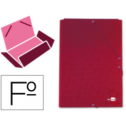 Carpeta liderpapel gomas folio 3 solapas carton forrado roja