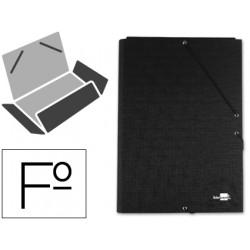 Carpeta liderpapel gomas folio 3 solapas carton forrado negra