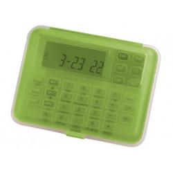 Calculadora imac p855 cfv euro transparente verde con reloj alarma
