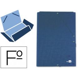 Carpeta liderpapel gomas folio 3 solapas carton forrado azul