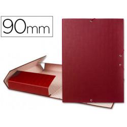 Carpeta proyectos liderpapel folio lomo 90mm carton forrado roja