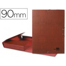 Carpeta proyectos liderpapel folio lomo 90mm carton forrado cuero