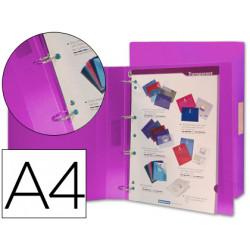 Carpeta liderpapel 4 anillas 25 mm mixtas 43436 polipropileno din a4 violet