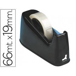 Portarrollo sobremesa qconnect plastico para cintasde 33 y 66 mt negro