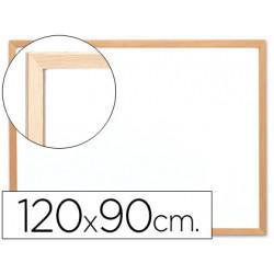 Pizarra blanca qconnect melamina marco de madera 120x90 cm