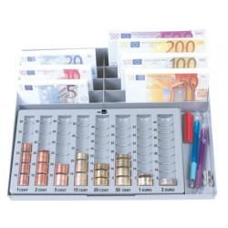 Portamonedas plastico euro qconnect con bandeja metalica para billetes
