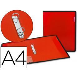 Carpeta liderpapel 2 anillas 25 mm 43030 polipropileno roja con bolsa y tar