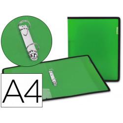Carpeta liderpapel 2 anillas 25 mm 43033 polipropileno verde con bolsa y ta