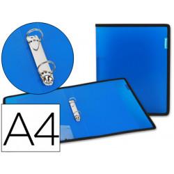 Carpeta liderpapel 2 anillas 25 mm 43032 polipropileno azul con bolsa y tar