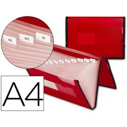 Carpeta liderpapel clasificador fuelle 32450 polipropileno din a4 roja con
