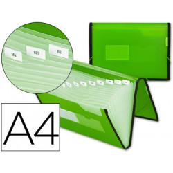 Carpeta liderpapel clasificador fuelle 32453 polipropileno din a4 verde con