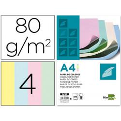 Papel color liderpapel a4 80g/m2 4 colores surtidos paquete de 100