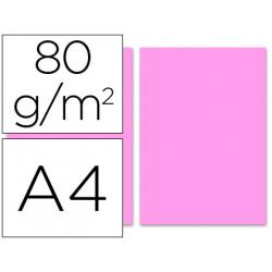Papel color liderpapel a4 80g/m2 rosa paquete de 100