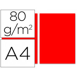 Papel color liderpapel a4 80g/m2 rojo paquete de 100