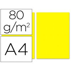 Papel color liderpapel a4 80g/m2 amarillo paquete de 100