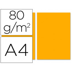 Papel color liderpapel a4 80g/m2 naranja paquete de 100