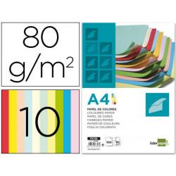 Papel color liderpapel a4 80g/m2 10 colores surtidos paquete de 100